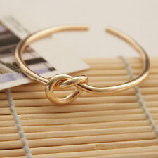 3Colors Brass Super Succinct Loving Heart Knot Open Bangle Bracelet SZ0310