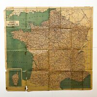 WWII French Route Map of Northern and Southern France Normandy War Relic