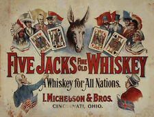 Vintage Five Jacks Whiskey Ad Reproduction Metal Sign FREE SHIPPING Cincinnati