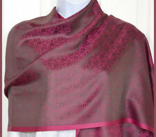 Banaras Silk Magenta Woven Floral Paisley Design Shawl, Wrap, Stole with Fringes