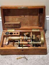 Antique E. Leitz Wetzlar Brass Monocular Victorian Scientific Microscope & Case