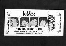 1979 The Knack Unused Concert ticket Virginia Beach Get The Knack My Sharona