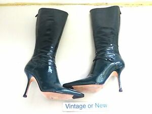 Jimmy Choo Knee High Green Patent Leather Pointed Toe Boots sz 37.5 (7.5)