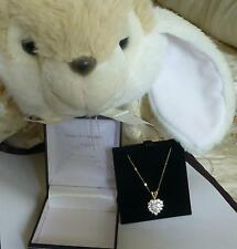 PENDANT NECKLACE CRYSTAL SPARKLING  LOVE HEART -  9ct SOLID GOLD CHAIN -STUNNING