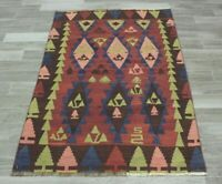 Cappadocia Hand Knotted Nomadic Kilim Area Rug Vintage Turkish Wool Carpet 3x5ft