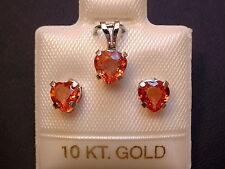 Orange Saphire - Schmuckset - 1,8 ct - 10 Kt. Weißgold 417 - Ohrringe & Anhänger