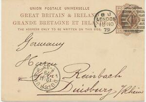 "GB 1879 QV 1d brown postcard  Duplex-cancel ""LONDON / 17"" code ""q"" NOT KNOWN"