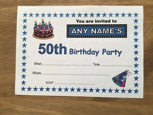 Personalised 50th BIRTHDAY PARTY Invitations - Pack of 20 -Quality Card-A6 size