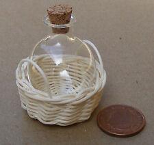 BOTTIGLIA vetro scala 1:12 in un cesto di vimini Casa delle Bambole Accessorio Vaso G25ZM