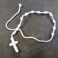 New handmade white knotted cord rosary beads bracelet