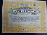 1920 Champion Copper Co. Stock Certificate
