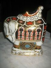 Large Royal Crown Derby Imari Indian Elephant Paperweight 21 cm High