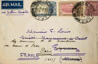 India Británica. Sobre Yv 119, 129, 130. 1931. 8 a lila, 1 a castaño y carmín y