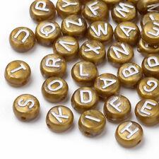 50 Letter Beads Alphabet Beads Gold Bulk Beads Wholesale 7mm Gold Plated