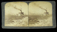 Underwood & Underwood Stereoview Card - Battleship Connecticut Heading To Sea
