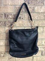 MICHAEL KORS Large Black Pebble Leather Gold Chain Shoulder Bag Tote Hobo Purse