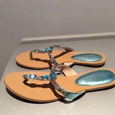 Nine West Evania Turtuoise Blue Jewel Sandal 9 9 1/2 M New T Strap Flip Flop