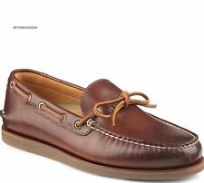 NIB SPERRY MEN'S GOLD AUTHENTIC 1-EYE BOAT SHOE BROWN TAN / GUM Size 8.5