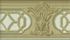 Victorian Architectural Beige and light green trim  WALLPAPER BORDER