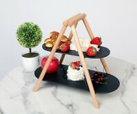 TOODOO Two-Tiered Serving Tray Natural Slate Charcuterie Serving Stand