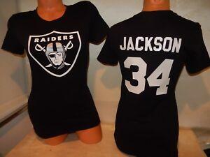 "9715 Womens Oakland Raiders BO JACKSON ""Logo"" Football Jersey Shirt BLACK New"