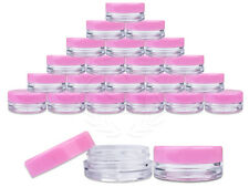 25 Pieces 3 Gram/3ml Plastic Round Clear Sample Jar Containers with Pink Lids