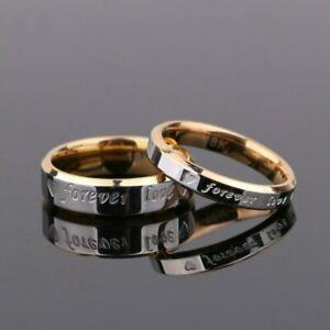 Rings Forever LOVE Anello Golden Lovers Anello Per Coppia In Acciaio Al Titanio