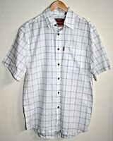 Levi's Vintage Style Men's Casual White Check Short Sleeve Shirt Print Size M