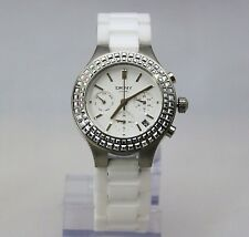 New DKNY NY2223I Chambers Silver Ceramic White Band Chronograph Women Watch
