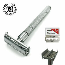 LONG HANDLE DOUBLE EDGE BUTTERFLY OPENING SAFETY RAZOR FOR MEN + 5 SHAVING BLADE