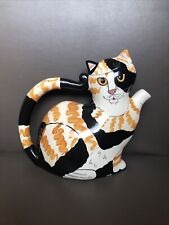Cats by Nina Lyman Ceramic Calico Black Orange Teapot *No Chips*