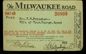 Chicago Milwaukee St Paul & Pacific RR Co, 1947-1948, #30908, annual pass