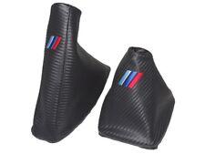 """Cuffia Leva Cambio E Freno+Telaio in Plastica Per BMW E90-93 Carbon """"M3"""" Logo"""