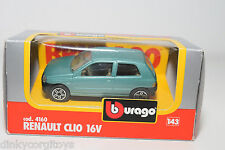 BBURAGO BURAGO 4160 RENAULT CLIO 16V METALLIC LIGHT GREEN MINT BOXED