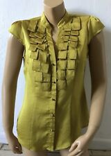 NEW YORK & COMPANY Womens Size 8 Mustard Yellow Cap Sleeve Button Front Shirt