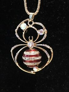 Betsey Johnson Necklace SPIDER Red Clear Crystals Halloween