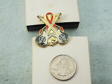 HARD ROCK CAFE LAPEL PIN AIDS RIBBON WITH CROSSED GUITARS  TAKE TIME TO BE KIND