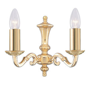Seville 2 Light Polished Brass Finish Traditional Candle Wall Light No Glass New