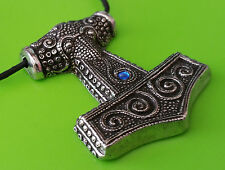 Peltre Viking Mjölnir Skane Thor's Hammer Replica Colgante Collar-Joya Azul