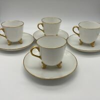 Set of Four Footed White andGold Porcelain Footed Demitasse Cups & Saucers