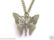 Oro antico in ottone filigrana farfalla ciondolo 30 pollici COLLANA CATENA