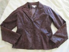 Bamboo Traders Women's Blazer, Brown, Faux suede, Lined, Lightweight, Size S