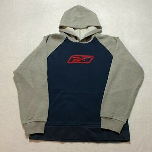 Reebok Pullover Hoodie Youth Size L Gray Embroidered Retro Long Sleeve Cotton
