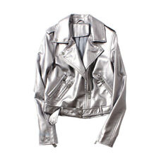 Women Silver PU Leather Jacket Coat Short Belt Zipper Motorcycle Biker Cool