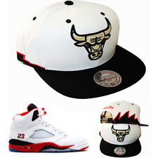 Mitchell & Ness Chicago Bulls Snapback Hat Air Jordan 5 Retro Fire Red Shark Cap