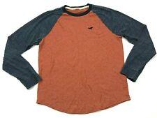 Hollister Raglan Shirt Size Small S Orange Blue Long Sleeve Tee Heathered Men's