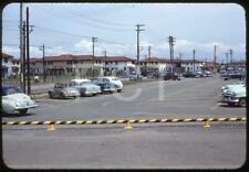 440F Original Slide 1950's Scene On U.S Military Base Old Cars Camp Zama ? Japan