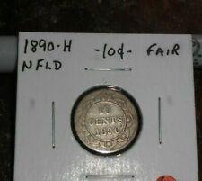 NEWFOUNDLAND 1890 H 10 CENTS SILVER COIN