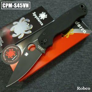 Spyderco Paramilitary 2 Blackout S45VN DLC Blade Black G10 Handles PM2 C81GPBK2