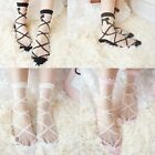 Womens Girls Silk Ruffle Lace Ankle Socks Ultrathin Sheer Cotton Elastic Hosiery